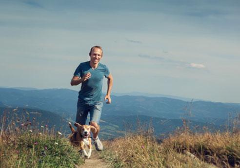 Wandern mit Hund im Sommer .